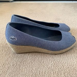LACOSTE | 8 | Canvas Peep Toe Wedge Espadrilles